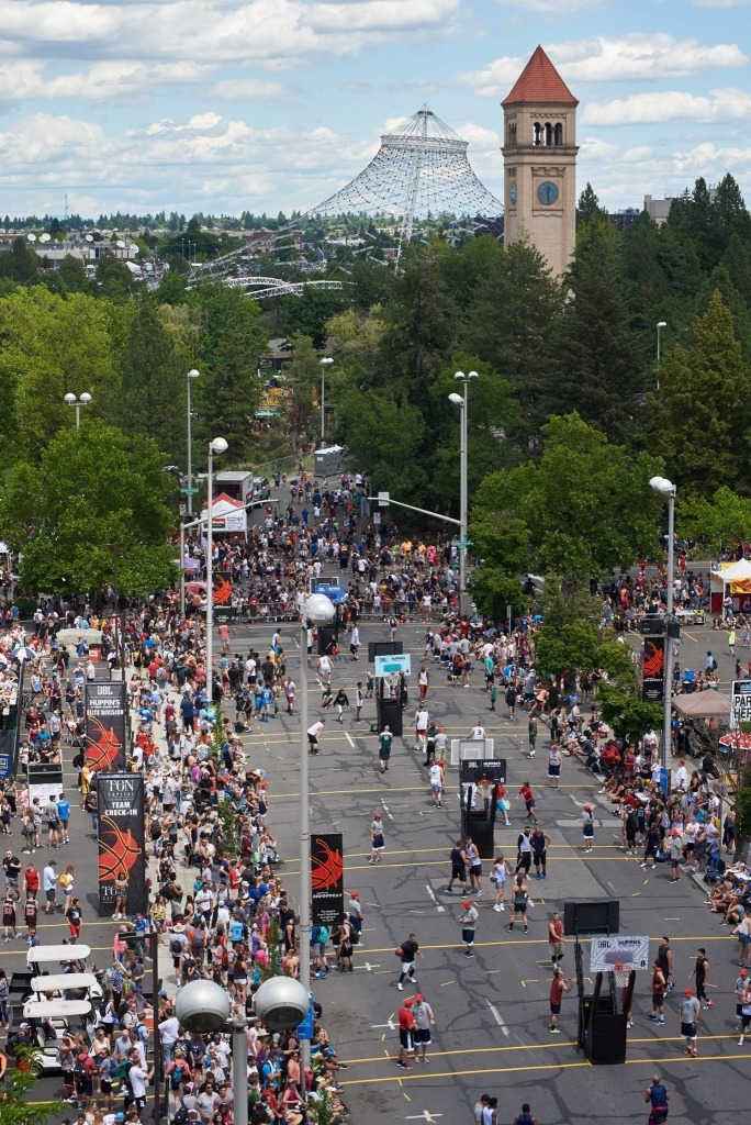 3 on 3 basketball courts at Spokane Hoopfest